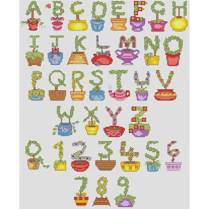 Topiary alphabet cross stitch chart