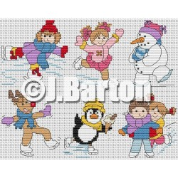 Ice skaters (cross stitch chart download)