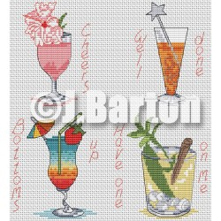 Cocktails (cross stitch chart download)