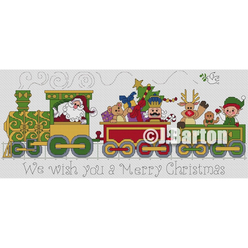 Santa train (cross stitch chart download)
