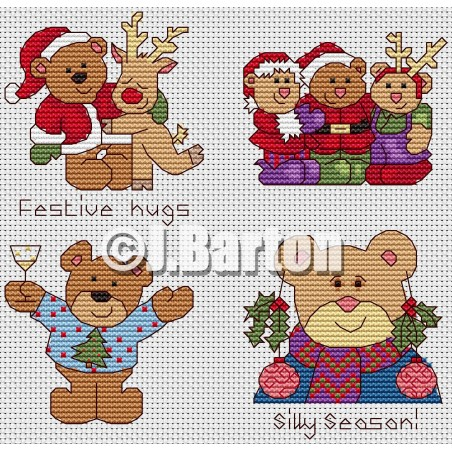 Festive teds (cross stitch chart download)
