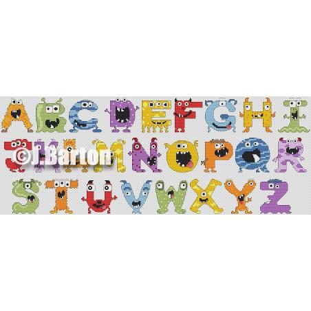 Monsters alphabet (cross stitch chart download)