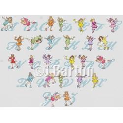 Skating fairies alphabet cross stitch chart