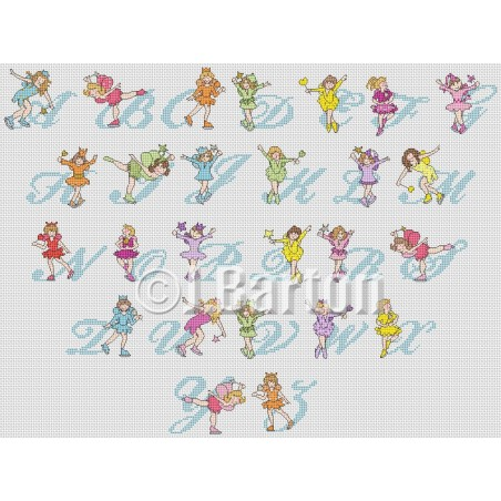 Skating fairies alphabet (cross stitch chart download)