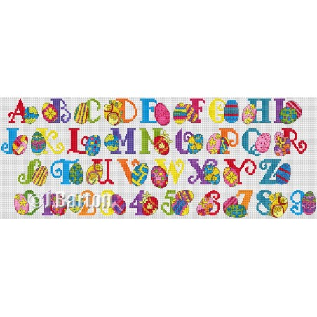 Easter eggs alphabet (cross stitch chart by post)