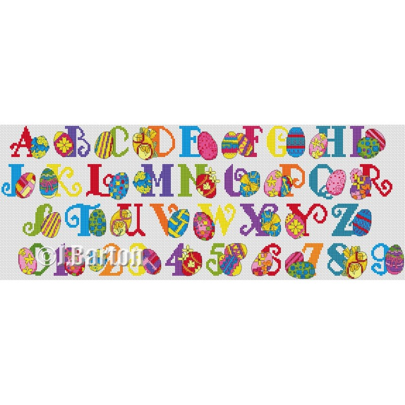 Easter eggs alphabet cross stitch chart