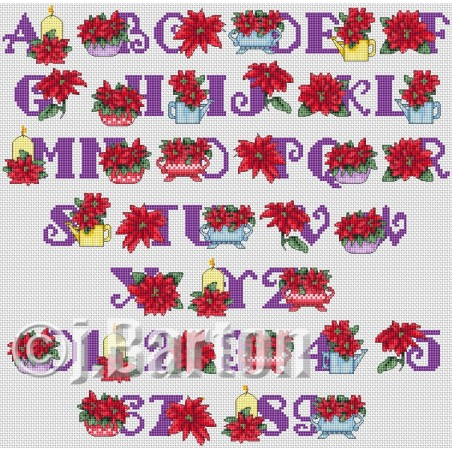 Poinsettia alphabet (cross stitch chart by post)