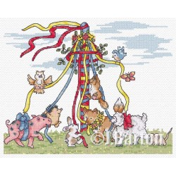 Animal maypole (cross stitch chart download)