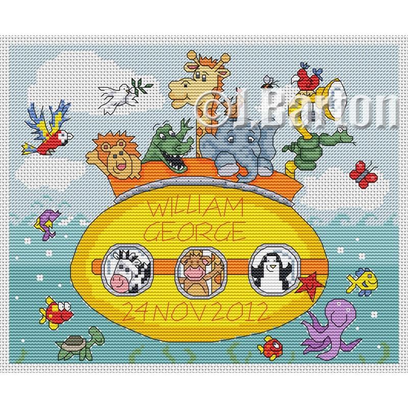 Noah's ark submarine cross stitch chart