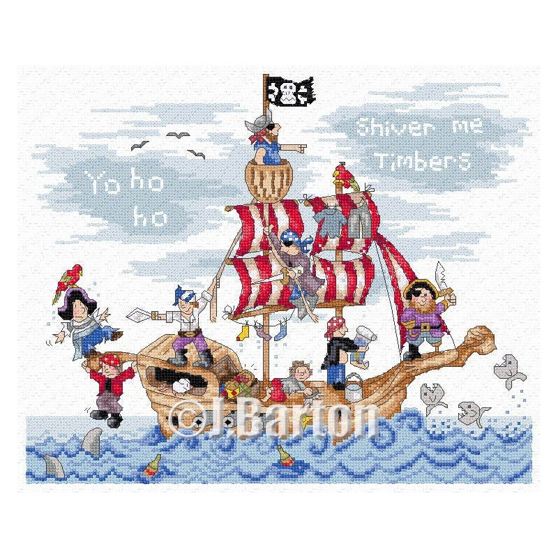 Pirates ship cross stitch chart