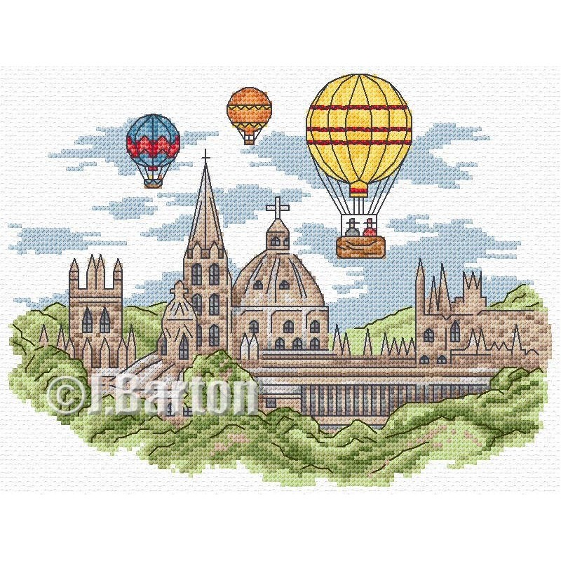 Hot air balloons cross stitch chart