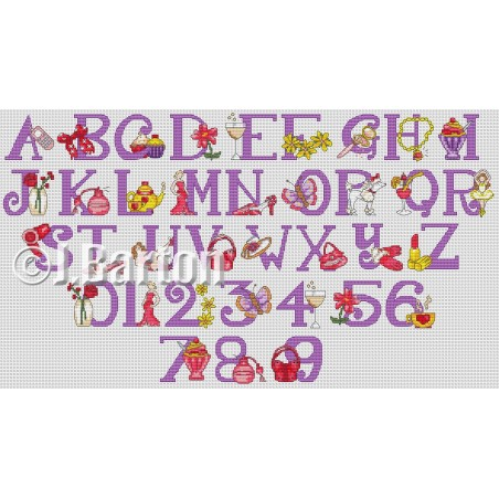 Girly alphabet and numbers (cross stitch chart download)