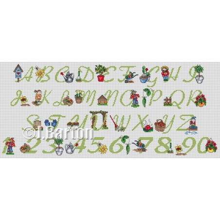 Gardening alphabet and numbers (cross stitch chart download)