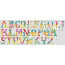 Vintage circus alphabet (cross stitch chart download)