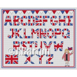 Union Jack alphabet cross stitch chart