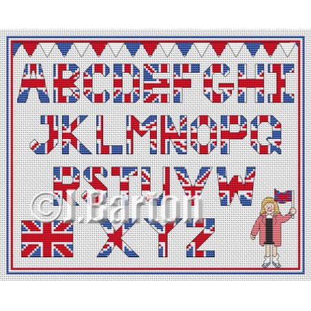 Union Jack alphabet (cross stitch chart download)