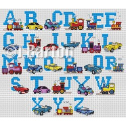 Cars and trains alphabet (cross stitch chart download)