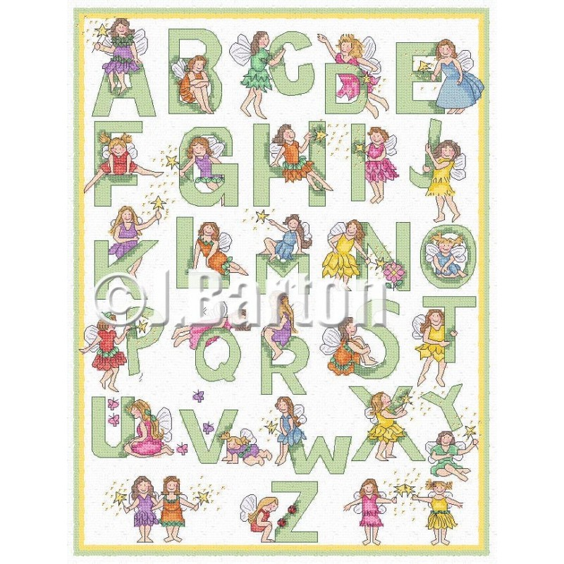 Fairy alphabet cross stitch chart