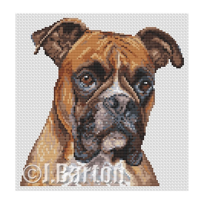 Boxer dog cross stitch chart