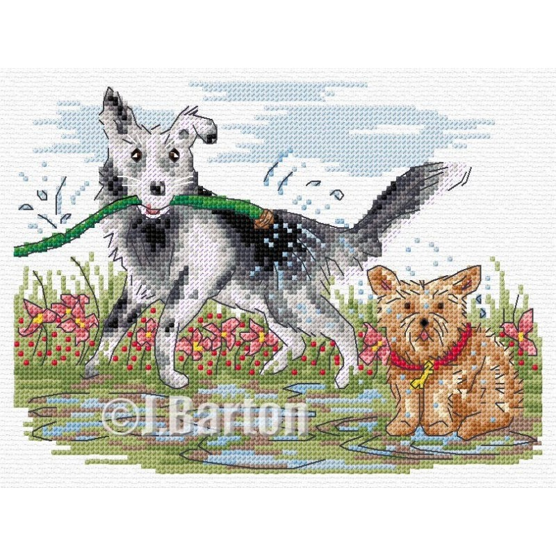 Dogs play time cross stitch chart