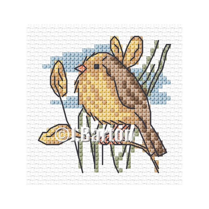 Garden warbler cross stitch chart