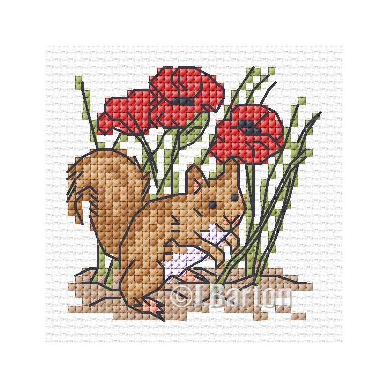 Red squirrel cross stitch chart