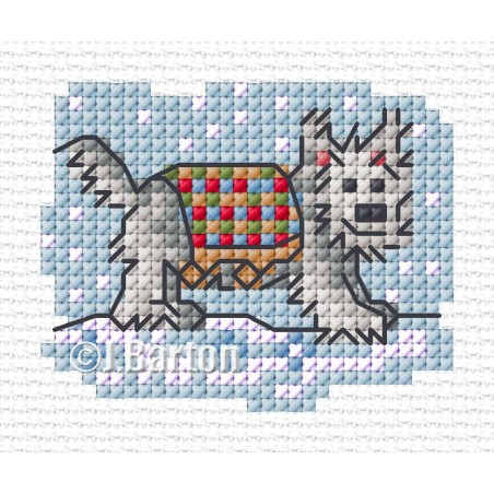Walkies in the snow (cross stitch chart download)
