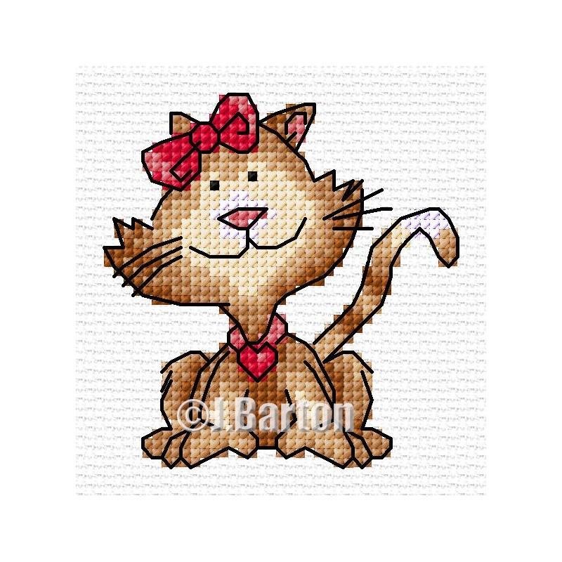 Pretty cat cross stitch chart