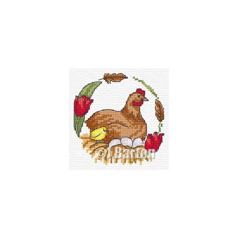 Chicken cross stitch chart