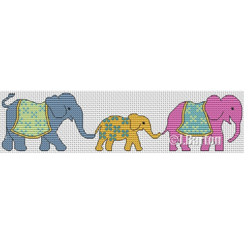 Elephant family cross stitch chart
