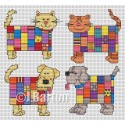 Patchwork cats and dogs cross stitch