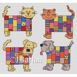 Patchwork cats and dogs (cross stitch chart download)