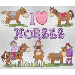 I love horses (cross stitch chart download)
