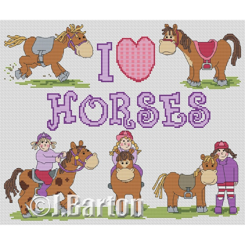 I love horses cross stitch chart