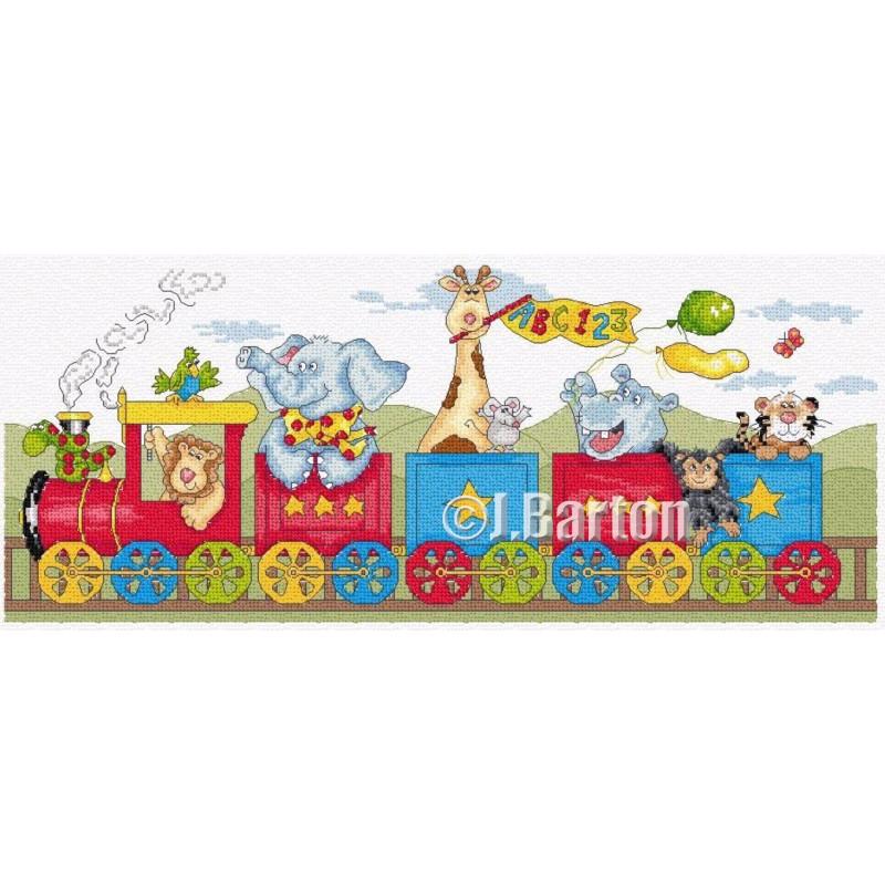 All aboard the animal train cross stitch chart