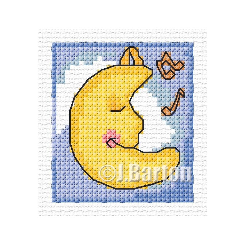 Lullaby moon cross stitch chart