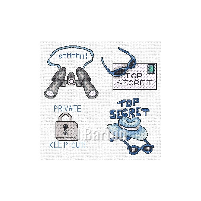 Top secret boy! Cross stitch chart