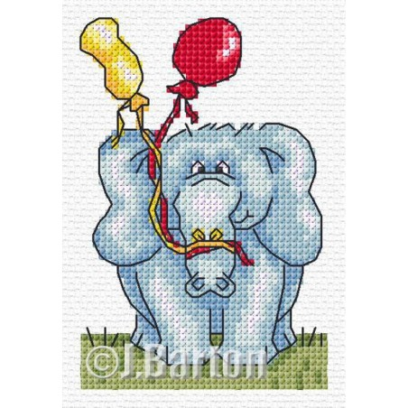 Party elephant (cross stitch chart download)