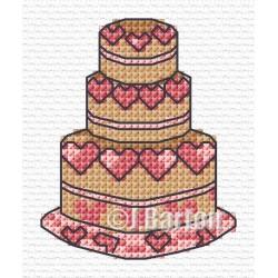 Love heart cake (cross stitch chart download)