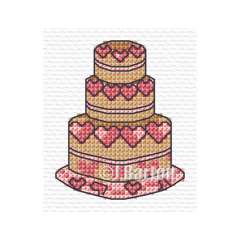 Love heart cake cross stitch chart