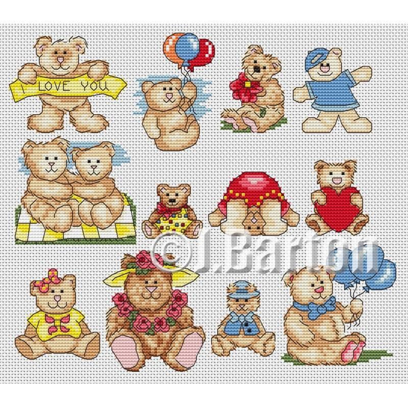 Teddy collection cross stitch chart