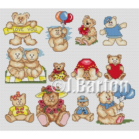 Teddy collection (cross stitch chart download)