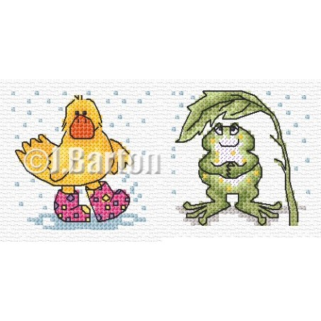 Duck and frog in the rain (cross stitch chart download)