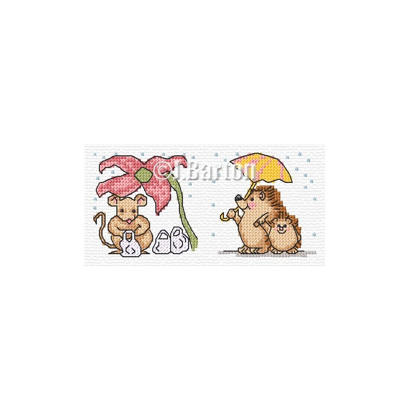 Hedgehogs and mouse in the rain (cross stitch chart download)