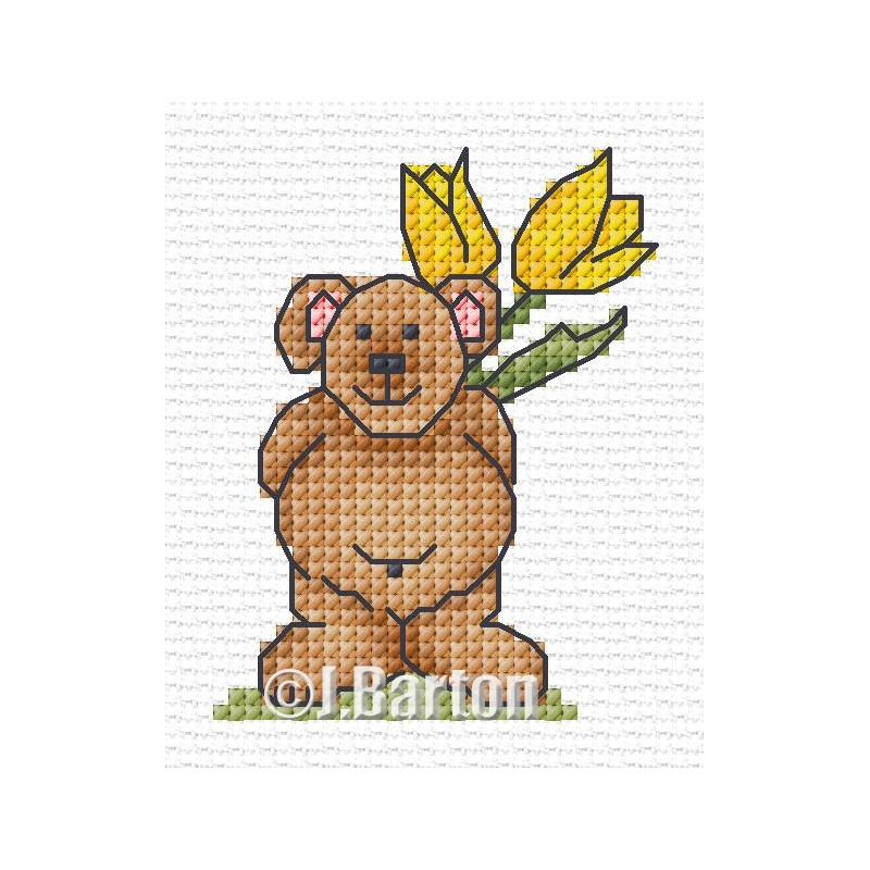 Surprise bear cross stitch chart