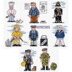 Men in uniform cross stitch chart