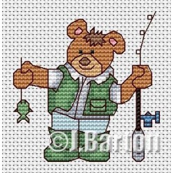 Fishing bear cross stitch chart