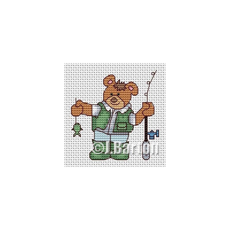 Fishing bear cross stitch chart