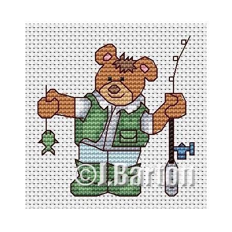 Fishing bear (cross stitch chart download)