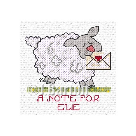 A note for ewe (cross stitch chart download)